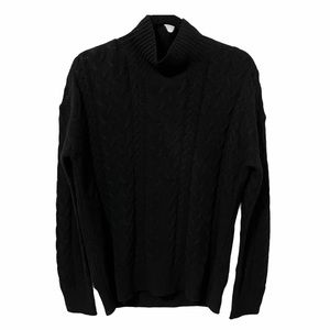 Wool Cable Knit Black Sweater Oversized Boho Small